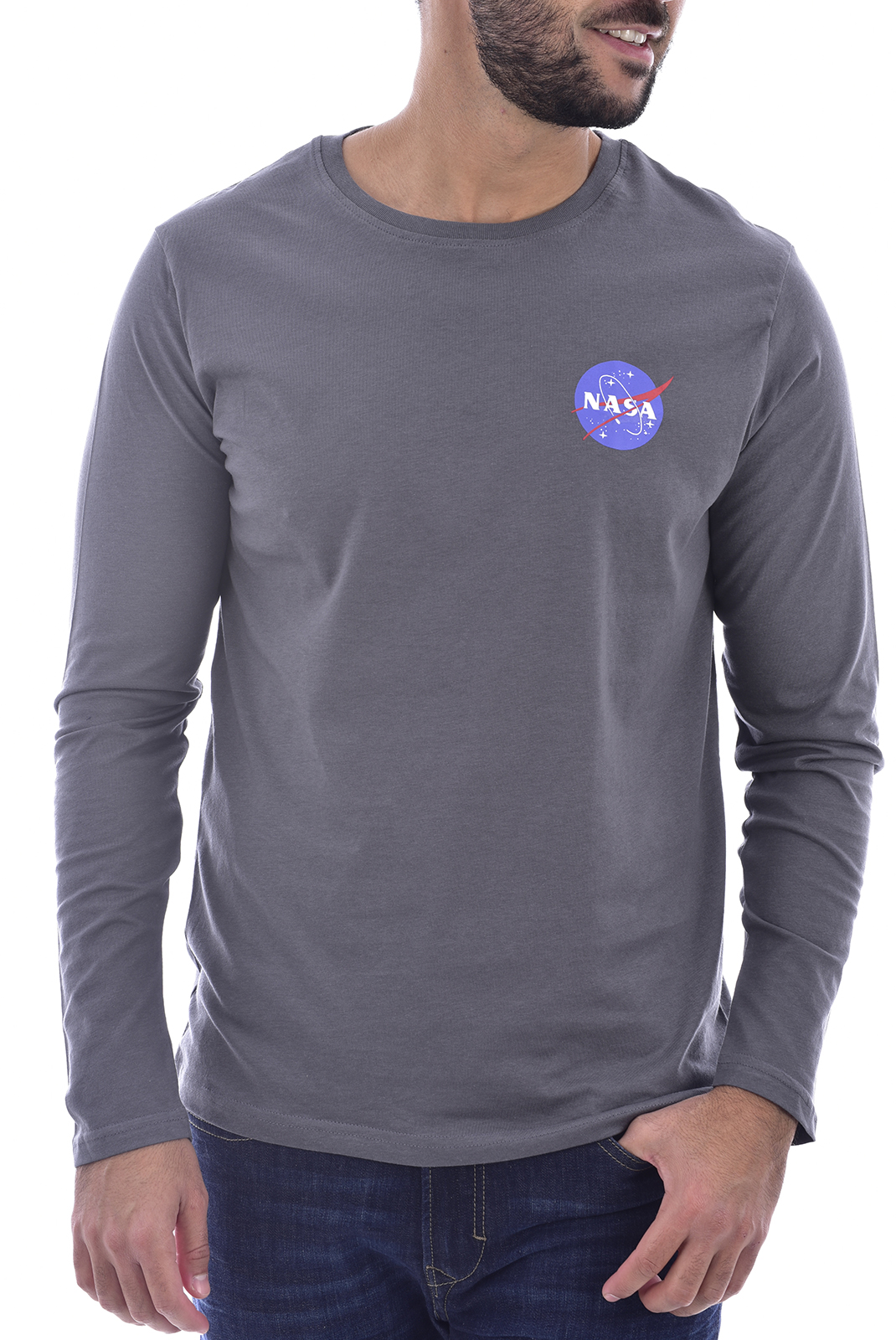 T-S manches longues  Nasa BASIC BALL O NECK LONG ANTHRACITE
