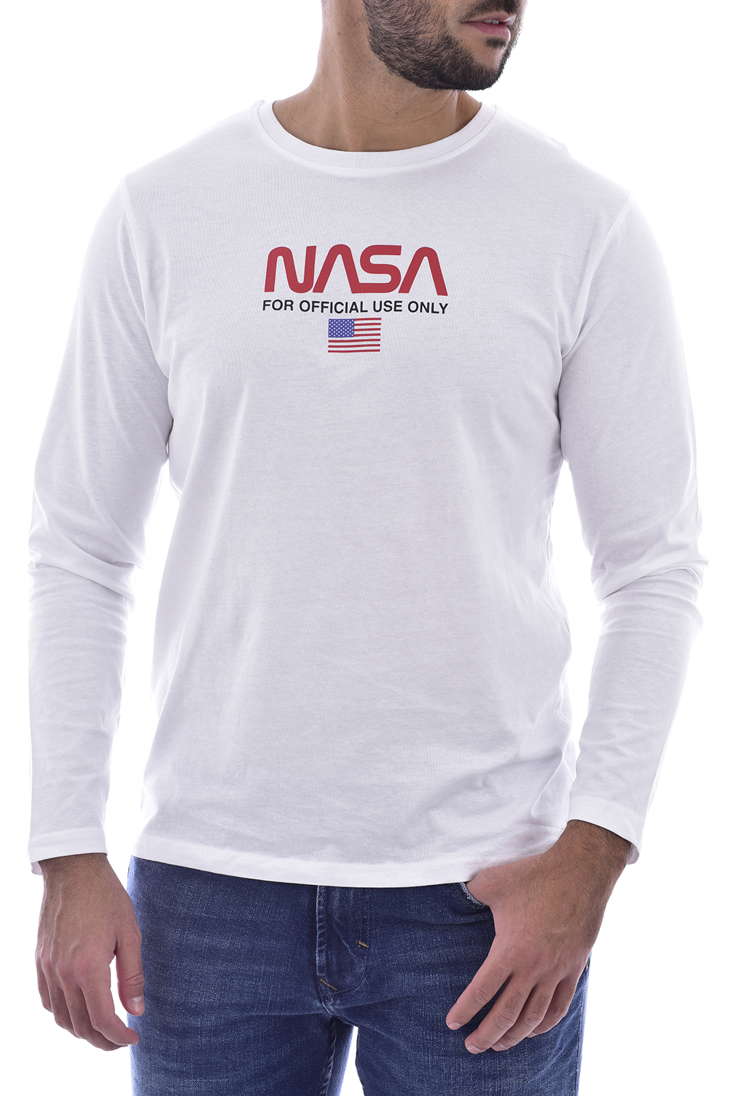 T-S manches longues  Nasa WORM FLAG O NECK LONG WHITE