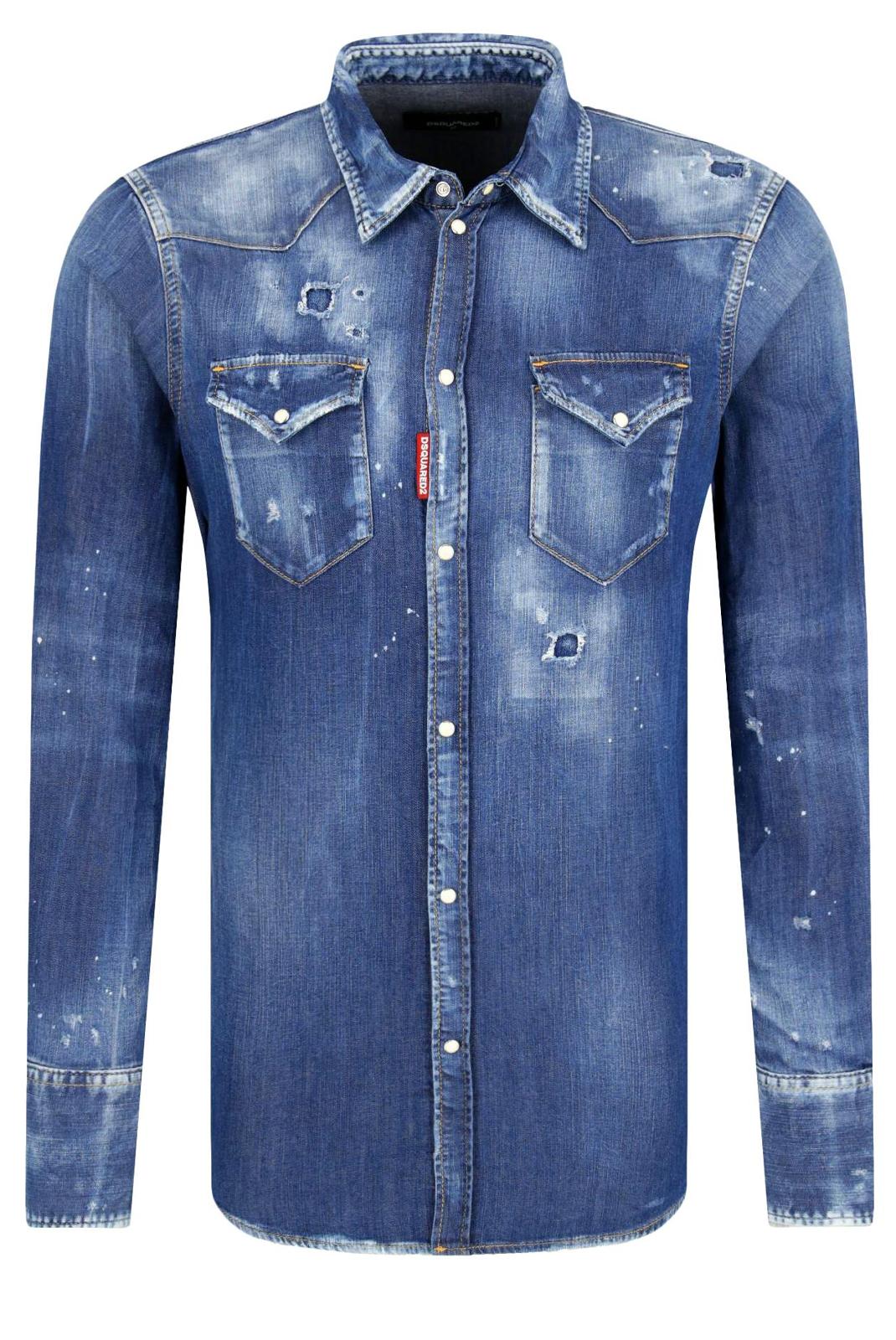 Chemises manches longues  Dsquared2 S74DM0226 470 bleu