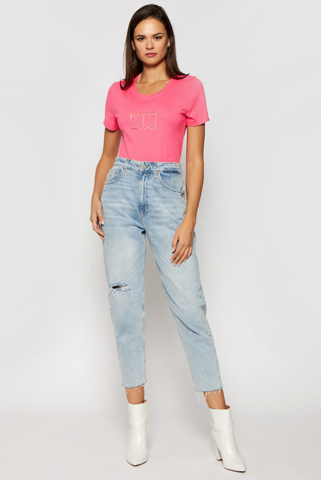 Tee shirt  Tommy Jeans DW0DW08473 TIK rose